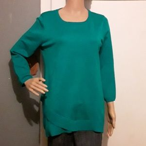 Cable & Gauge green sweater with trim details